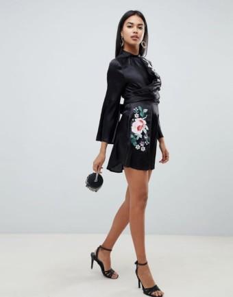 ASOS DESIGN Embroidered Wrap Front Mini Black Dress