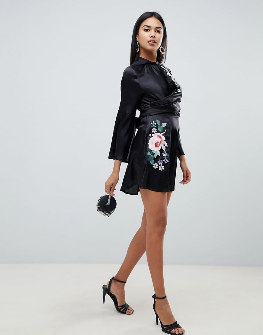 ASOS DESIGN Embroidered Wrap Front Mini Black Dress