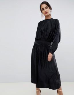 ASOS DESIGN Jacquard Batwing Midi Black Dress