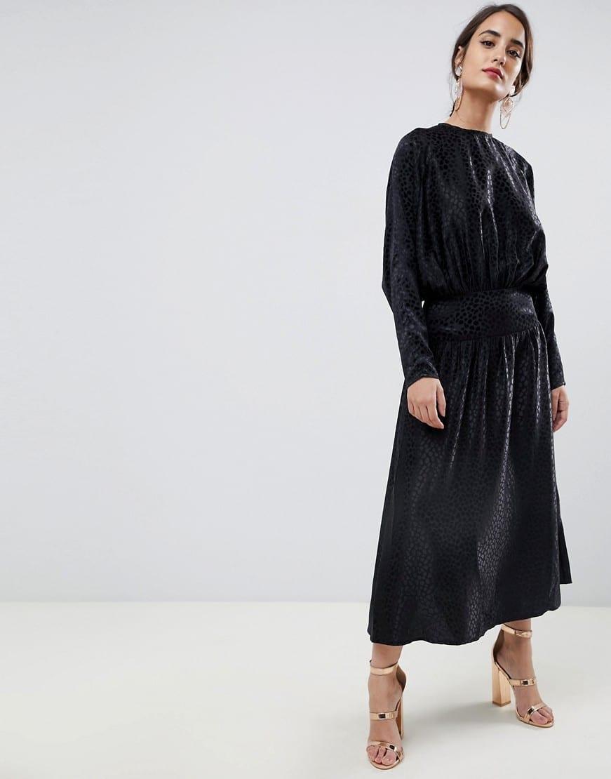 264ece3451f0 ASOS DESIGN Jacquard Long Batwing Midi Black Dress - We Select Dresses
