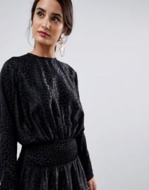 ASOS DESIGN Jacquard Long Batwing Midi Black Dress