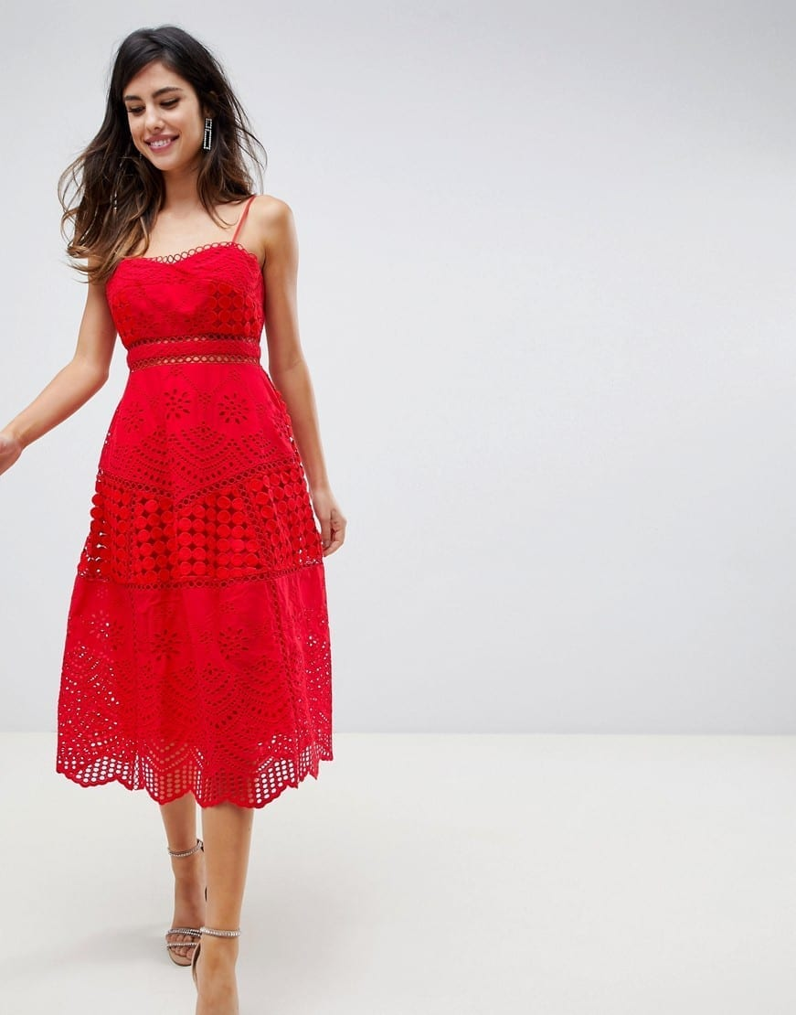 50c8cf18e704 ASOS DESIGN Premium Lace Broderie Prom Midi Red Dress - We Select ...