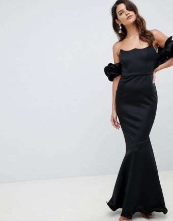ASOS DESIGN Premium Wired Bardot Maxi Black Dress