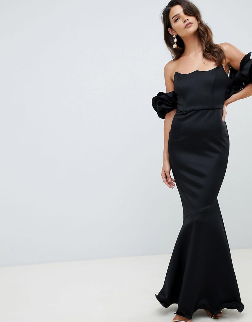 be62a55a03 ASOS DESIGN Premium Wired Bardot Maxi Black Dress - We Select Dresses