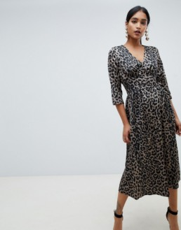 ASOS DESIGN Satin Leopard Print Carly Button Through Maxi Multicolored Dress