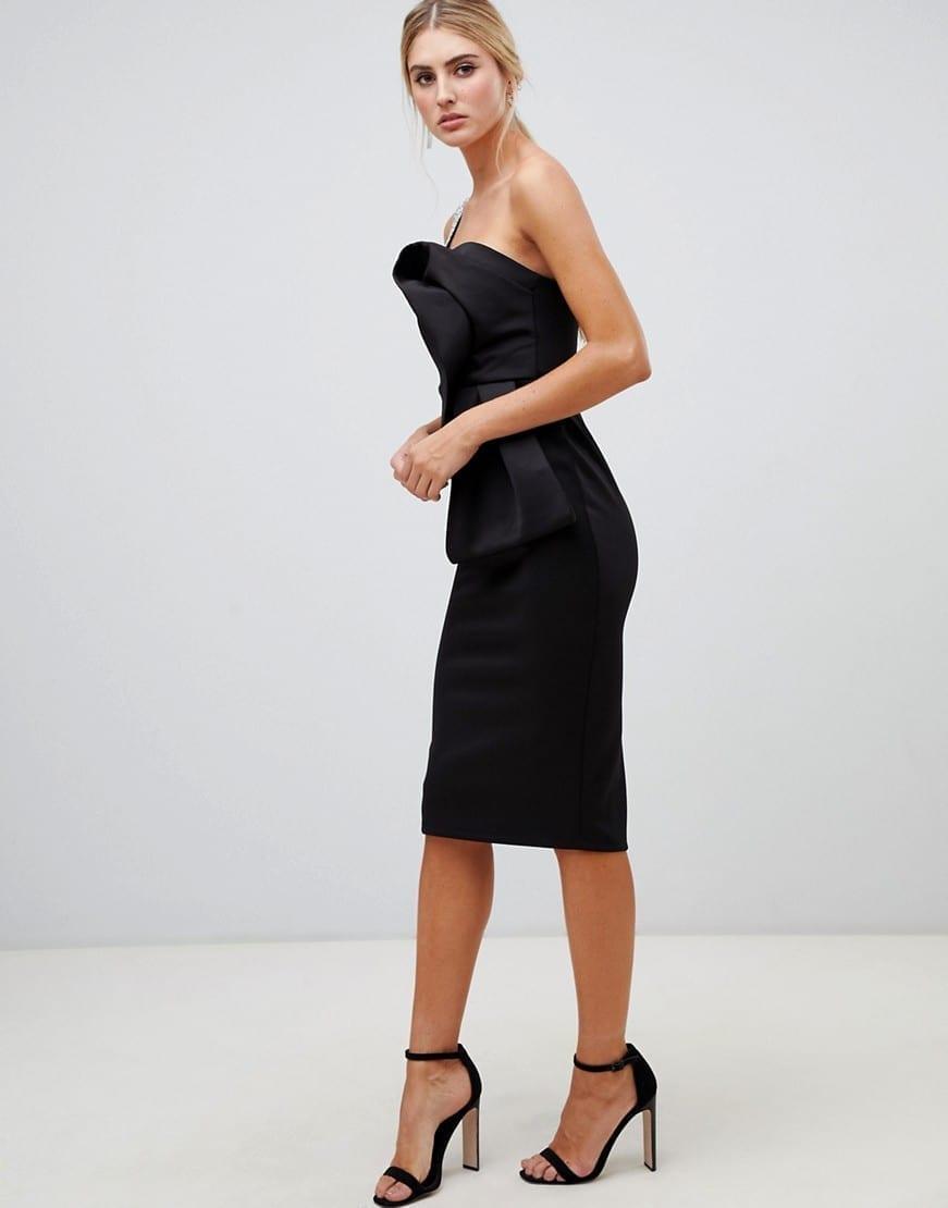 ASOS DESIGN Sparkle Strap Structured Origami Bodycon Midi Black Dress