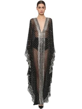 AZZARO Embroidered Silk Chiffon Caftan Black Gown