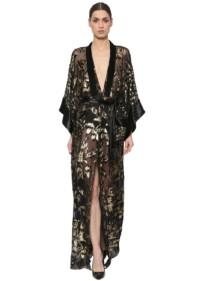 AZZARO Sheer Chiffon Fil Coupé Kimono Black / Gold Dress
