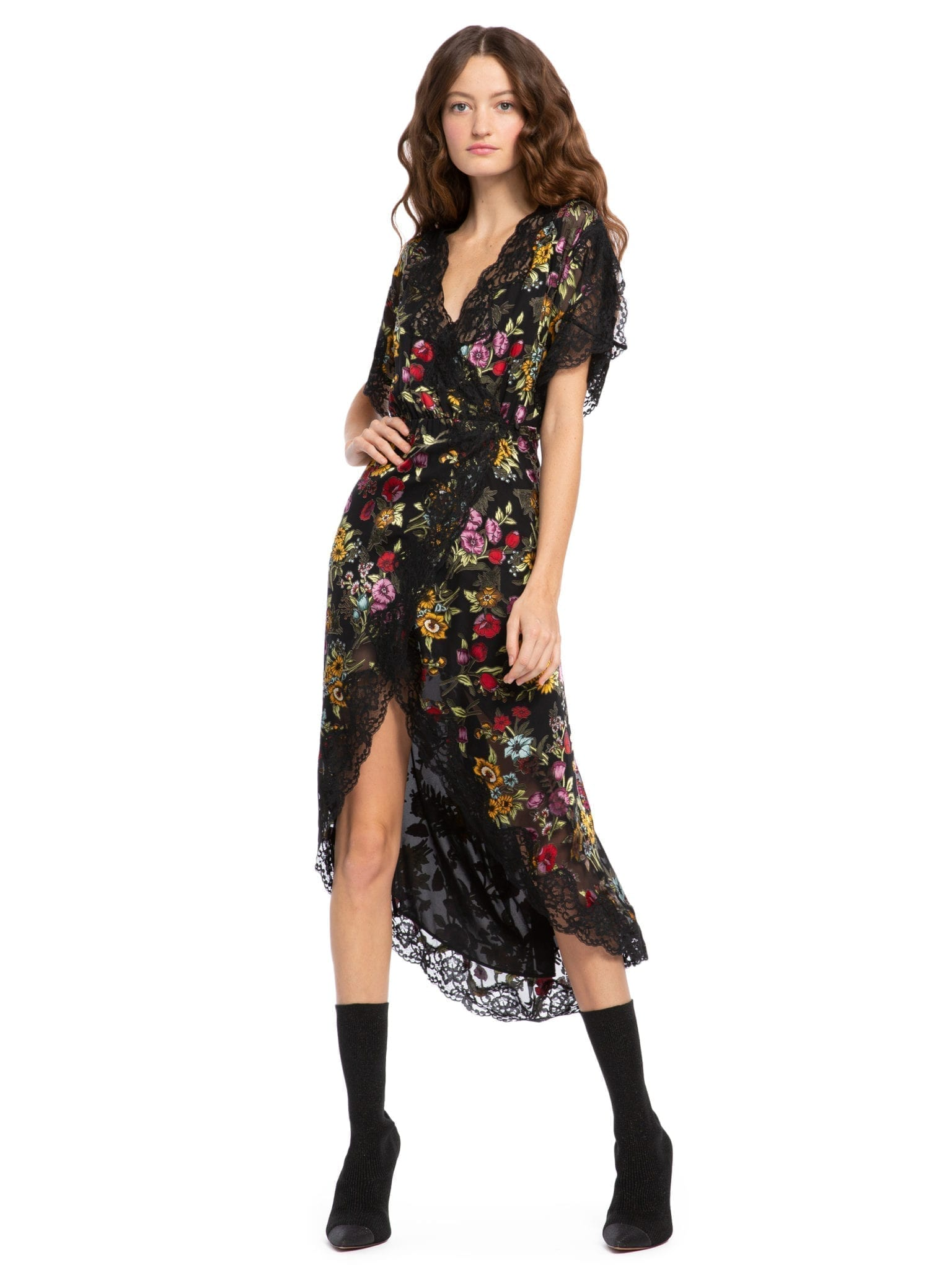 Alice + Olivia Adele Midi Wrap Floral Black Dress