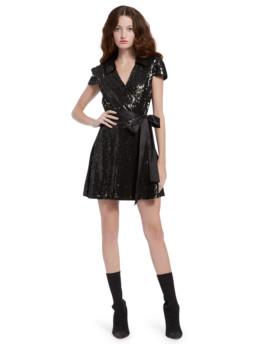 Alice + Olivia Bayley Sequin Mini Black Dress