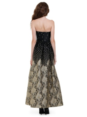 Alice + Olivia Daisy Strapless Black Gown 2