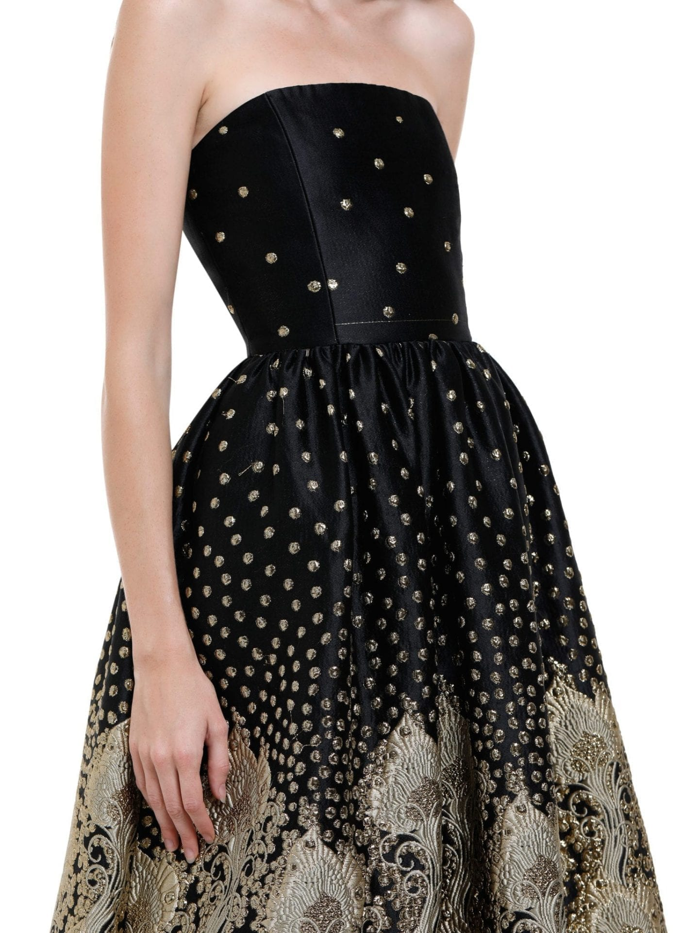a064a0a239e1 Alice + Olivia Daisy Strapless Sequins And Embroidery Black Gown ...