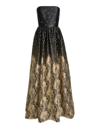 Alice + Olivia Daisy Strapless Black Gown 4