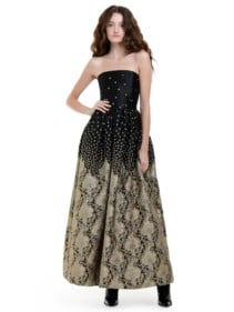 Alice + Olivia Daisy Strapless Black Gown