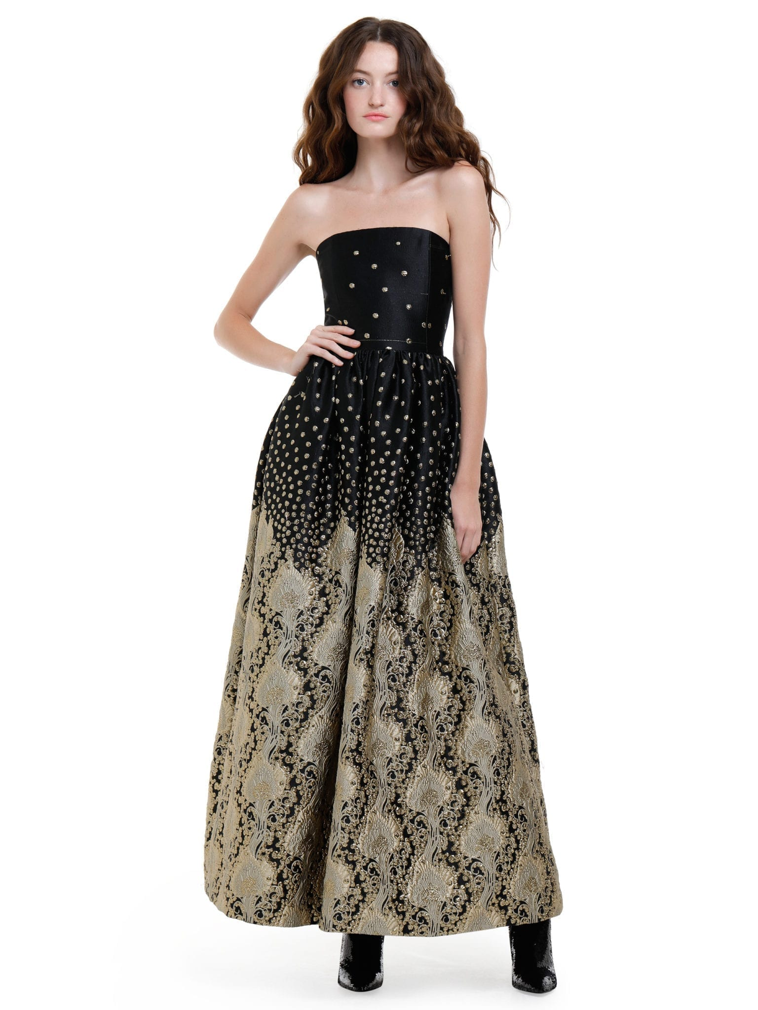 Alice Olivia Daisy Strapless Sequins And Embroidery Black Gown