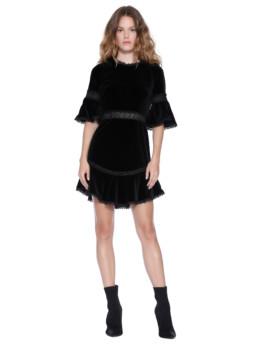 Alice + Olivia Doloris Bell Sleeve Velvet Black Dress
