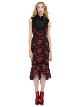 Alice + Olivia Evelina Midi Ruffle Black Dress