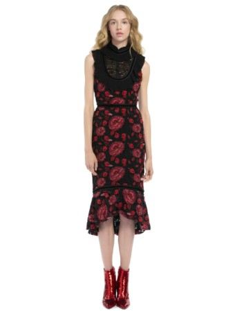 Alice + Olivia Evelina Midi Ruffle Black Dress