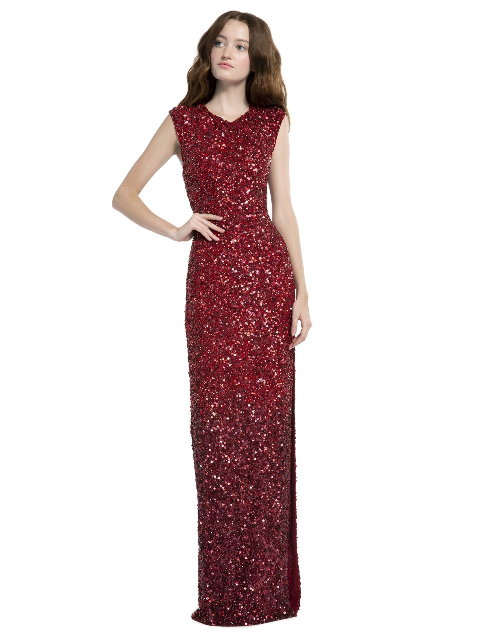 Alice Olivia Jojo Sequin Fitted Red Gown We Select Dresses