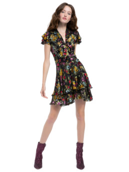 Alice + Olivia Moore Floral Black Dress