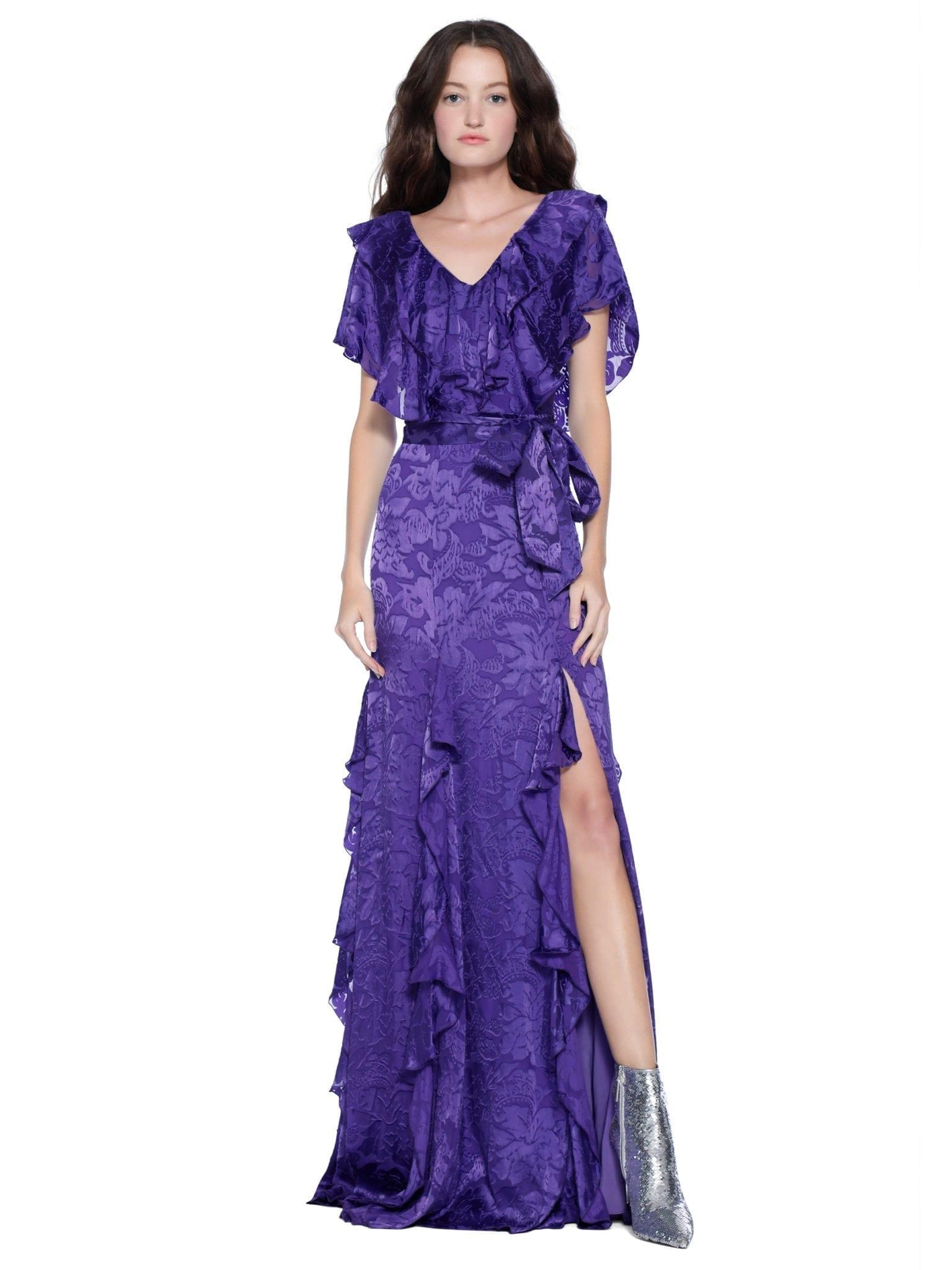 Alice + Olivia Tessa Ruffle Godet Maxi Purple Dress