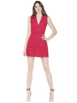 Alice + Olivia Zula Lace V Neck Mini Ruby Dress