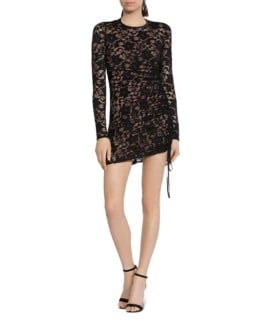 BAILEY 44 Disinformation Ruched Drawstring Lace Black Dress