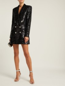 BALMAIN Double Breasted Sequinned Blazer Black Dress