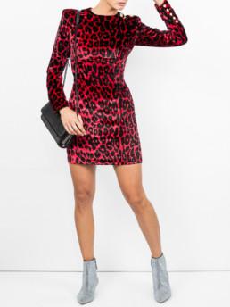 BALMAIN Leopard Print Mini Red Dress