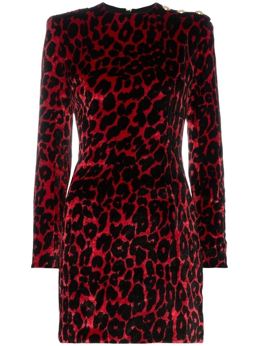 Balmain Leopard Print Mini Red Dress