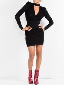 BALMAIN Ribbed Mini Black Dress