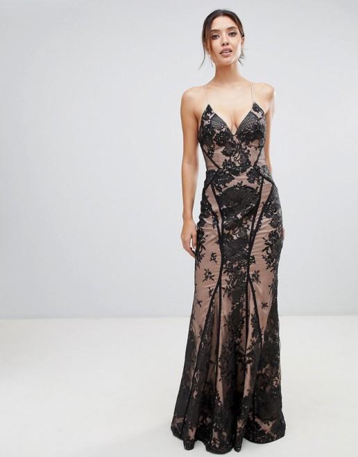 BARIANO Strappy Back Allover Lace Cami Maxi Black / Nude Dress