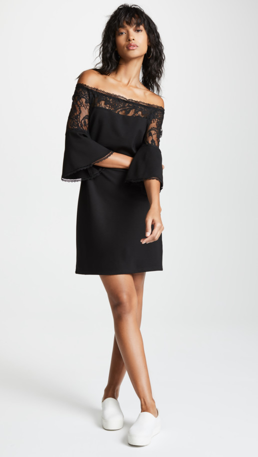 BB DAKOTA Desperado Off Shoulder Black Dress