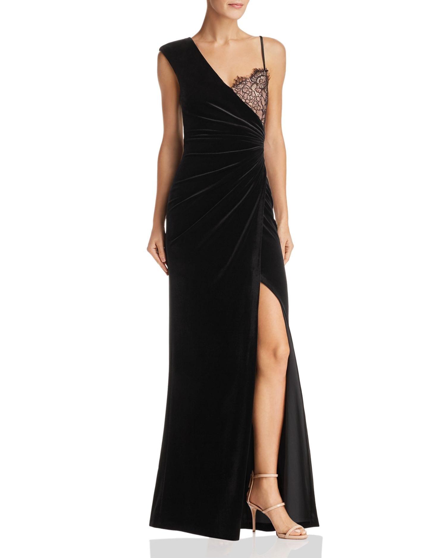BCBGMAXAZRIA Asymmetric Velvet Black Gown