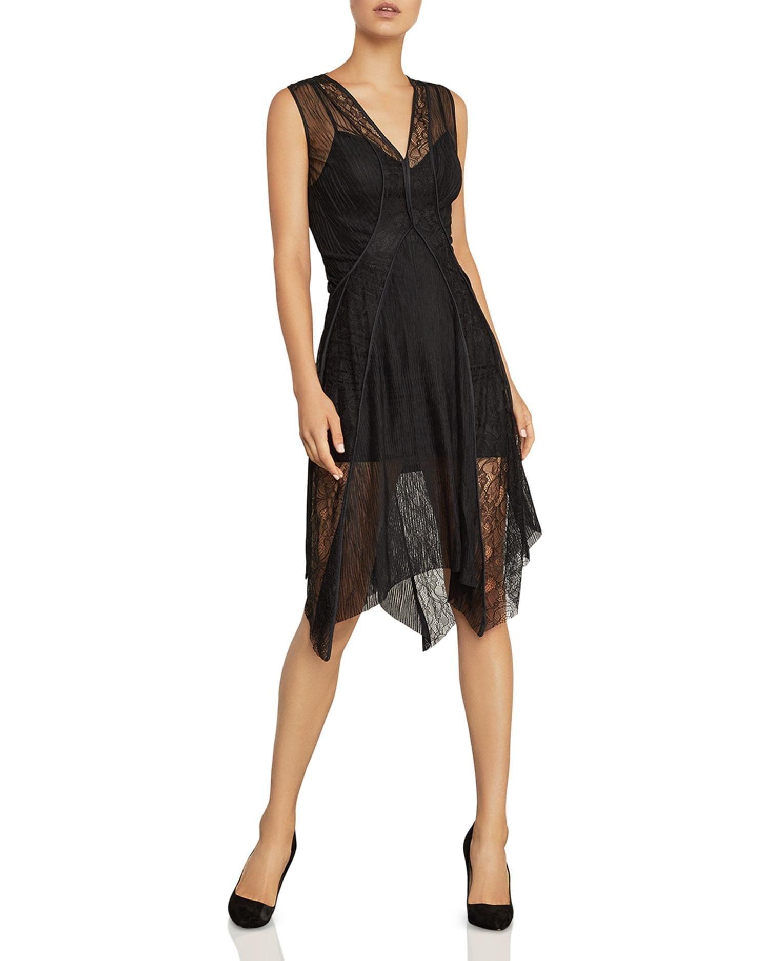 BCBGMAXAZRIA Piped Mesh & Lace Black Dress