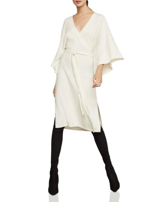 BCBGMAXAZRIA Tie-Waist Sweater White Dress