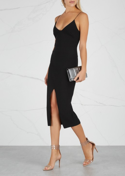 BEC & BRIDGE Tasha Black Stretch-Cady Midi Black Dress