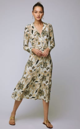 BECKEN Ruffled Floral Silk Midi Floral Dress