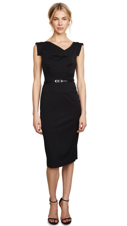 BLACK HALO Jackie O Belted Black Dress