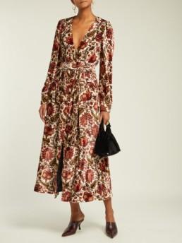 BLAZÉ MILANO Ballroom Royal Clipper-Print Velvet Beige Dress