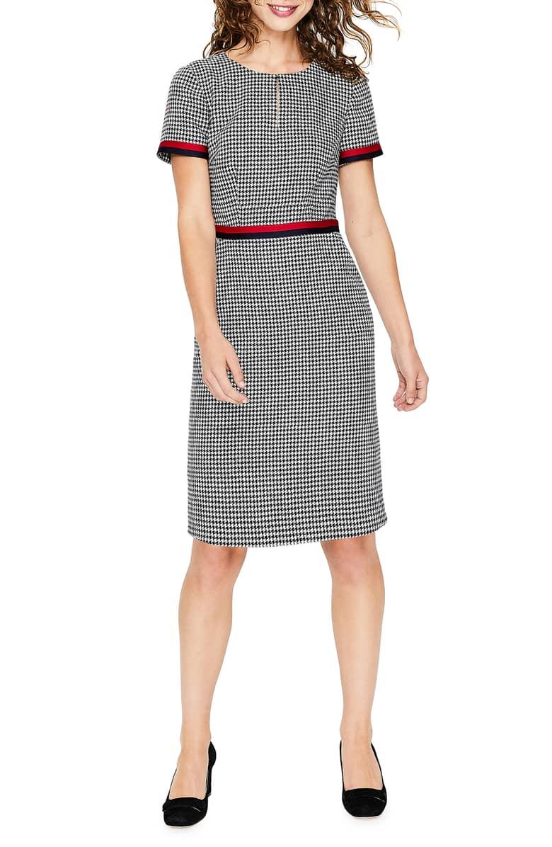 BODEN Ribbon Trim Wool Tweed Navy Ivory Dress