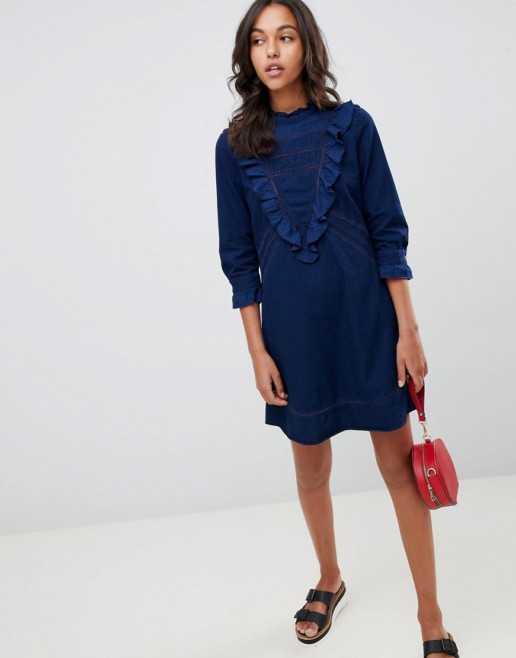 BOSS Casual Denim Frill Blue Dress