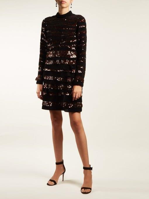 BOTTEGA VENETA Sequin-Striped Velvet Mini Black Dress