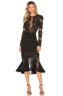 BRONX AND BANCO Velvet Flare Black Dress