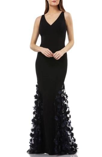 CARMEN MARC VALVO INFUSION 3D Floral Skirt Mermaid Black Gown