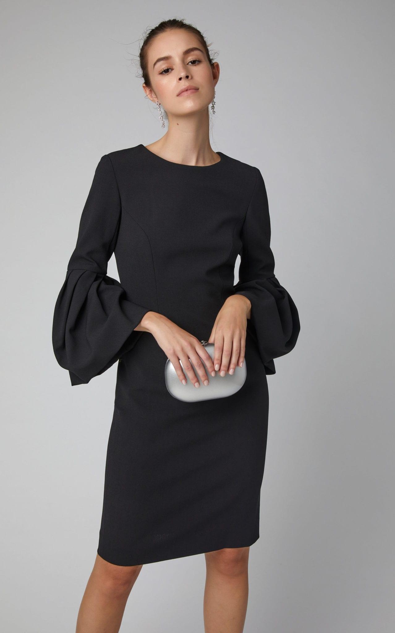 Carolina Herrera Balloon Sleeve Crepe Midi Sheath Black Dress