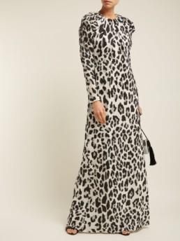CAROLINA HERRERA Leopard Print Lurex Chiffon White Gown