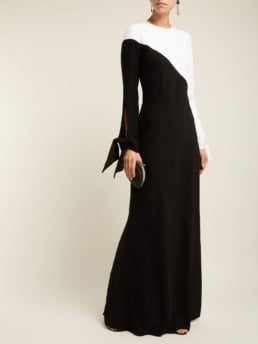 CAROLINA HERRERA Two Tone Crepe Black Gown