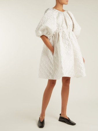 CECILIE BAHNSEN Ava Quilted Silk Mini White Dress 1