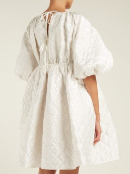 CECILIE BAHNSEN Ava Quilted Silk Mini White Dress